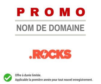 Promotion sur l'enregistrement de nom de domaine ROCKS